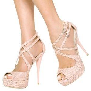 JustFab Pink Rowan Snakeskin Strappy Heels
